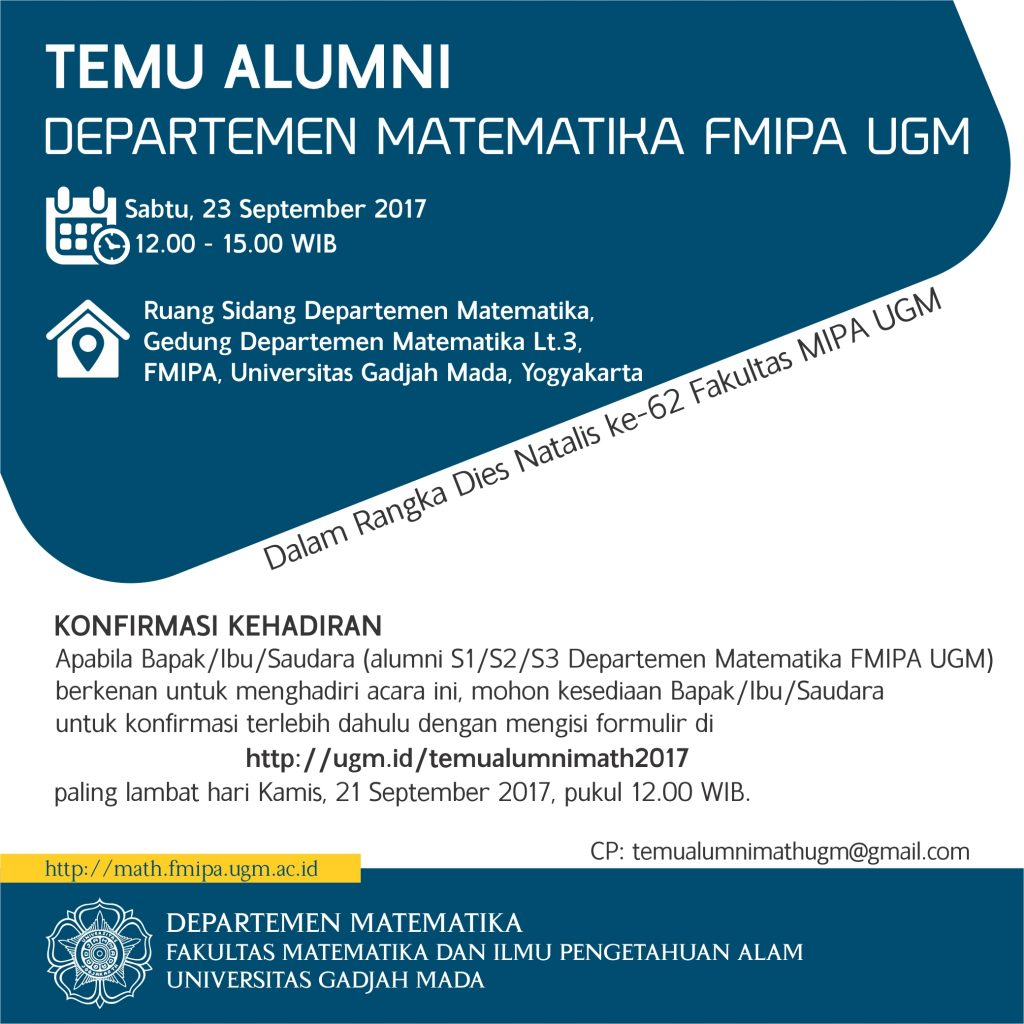 [Undangan] Temu Alumni Departemen Matematika FMIPA UGM